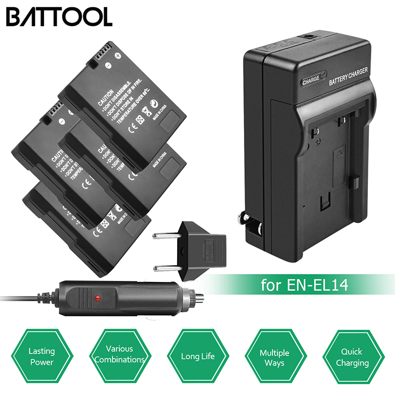BATTOOL 7.2 V EN-EL14 EN EL14 1500 mAh Batteries D3100 D3200 D3300 D5100 D5200 D5300 P7000 P7100 P7700 P7800 pour Nikon