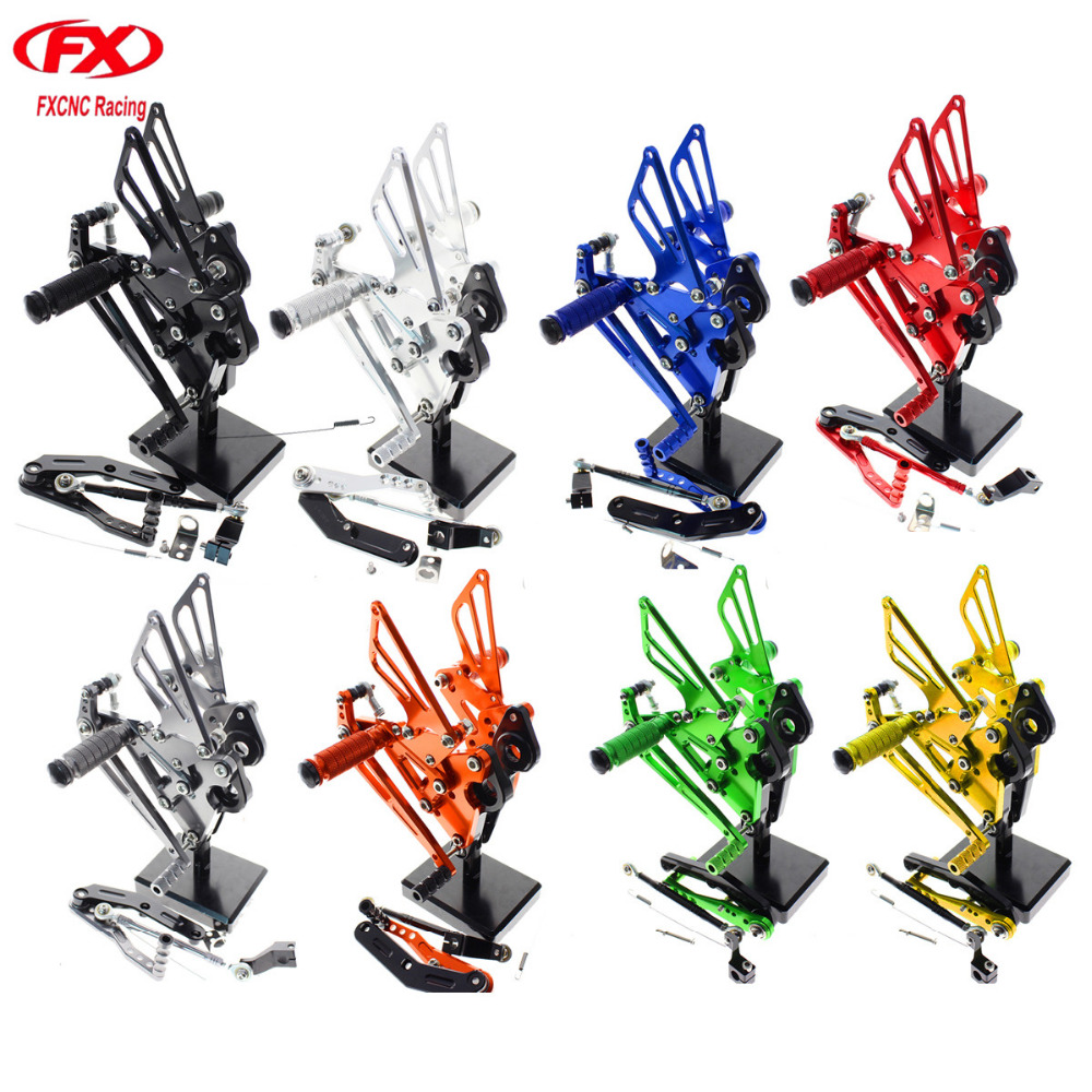 For Yamaha FZ 09 MT09 2013 2017 Aluminum CNC Adjustable Motorcycle Rider Rear Sets Rearset Footrest Foot Pegs Pedals 2014 2015