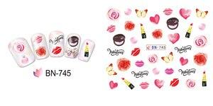 Image 3 - 12 упак./лот переводка NAIL ART наклейки для ногтей на День святого Валентина Свадебный поцелуй сердце губы, с цветочным принтом «розы» со стразами BN745 756