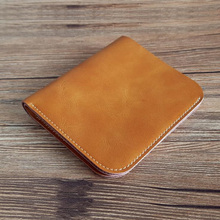 Handmade Western Leather Wallet Men Genuine Leather Cash Bifold Slim Wallet Male Mens Wallet Leather Genuine Best Gift for Him cheap Cow Leather Unisex Casual Solid No Zipper Standard Wallets Short Note Compartment Card Holder Okli-Rsoe none