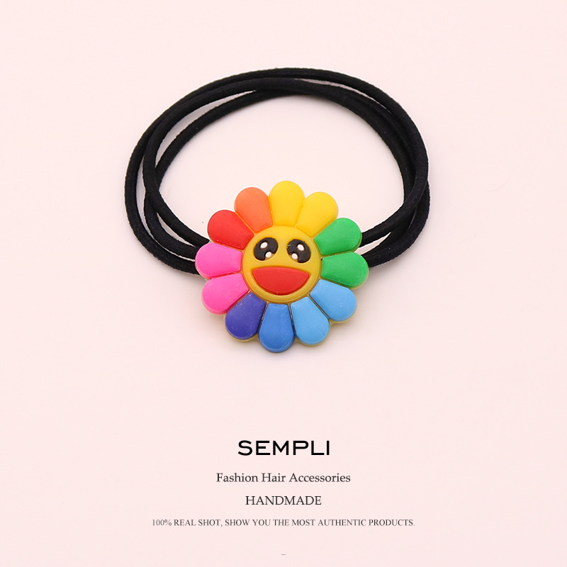 Sempli Black Elastic Hair Bands Headbands Basic Sunflower High Elasticity Women Girls Smile Girls Hair Bows Hair Accessories