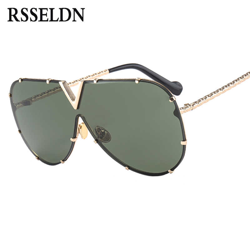 04f1b37d9e9 RSSELDN Fashion Oversized Pilot Sunglasses Women Men UV400 Retro Brand  Designer Big Frame Sun Glasses For