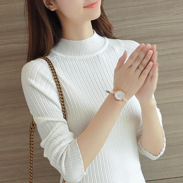 Женская мода весна осень зима свитер основной трикотажные рубашки женщина с длинными рукавами пуловер свитер толстый тонкий топы