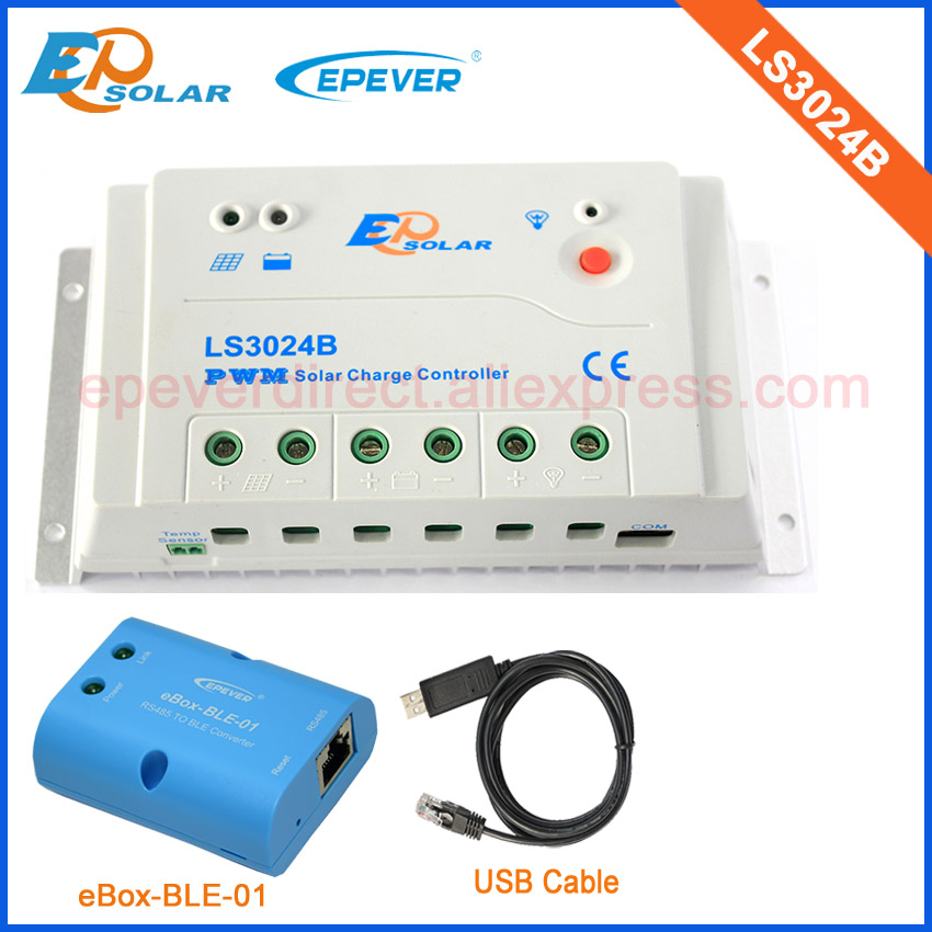 USB cable conntect regulator with personal conpuer use EPSolar LS3024B product 30A and bluetooth function connect APP epsolar pwm 30a regulator solar battery ls3024b with mt50 remote meter usb cable and bluetooth function