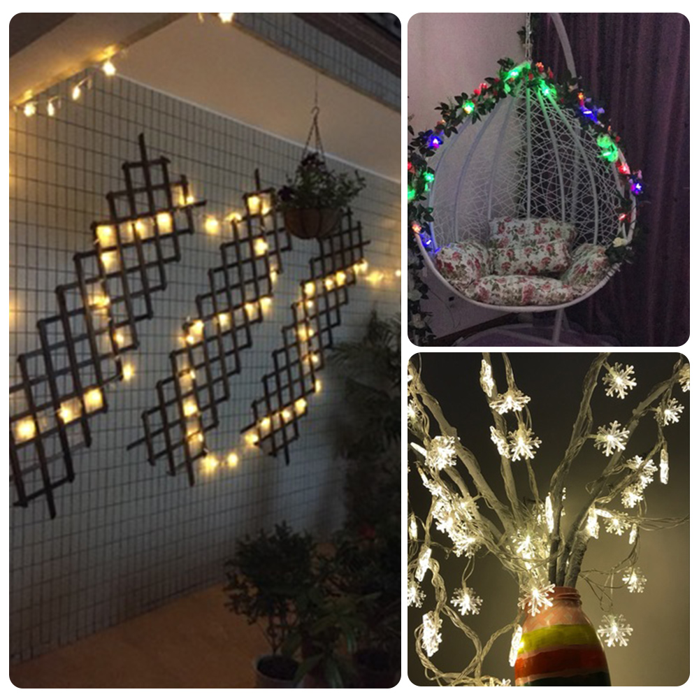 Battery Powered 20 Led Snowflake Fairy String Light 2M Silver Copper Wire Mini Lamp Christmas Holiday Wedding Party Decoration