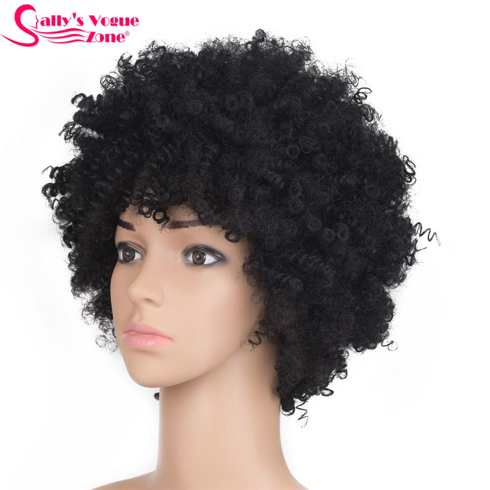 Sallyhair High Temperature  Synthetic Short Afro Kinky Curly Black Color Wig