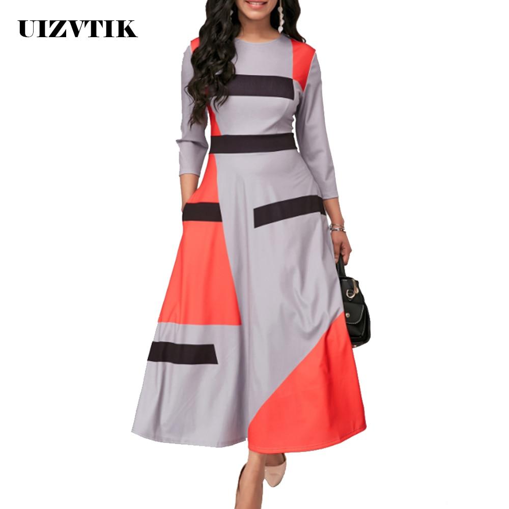 UIZVTIK automne été robe femmes 2019 décontracté grande taille Slim rayé robe de bal Maxi robes élégant Sexy longue robe de soirée 5XL