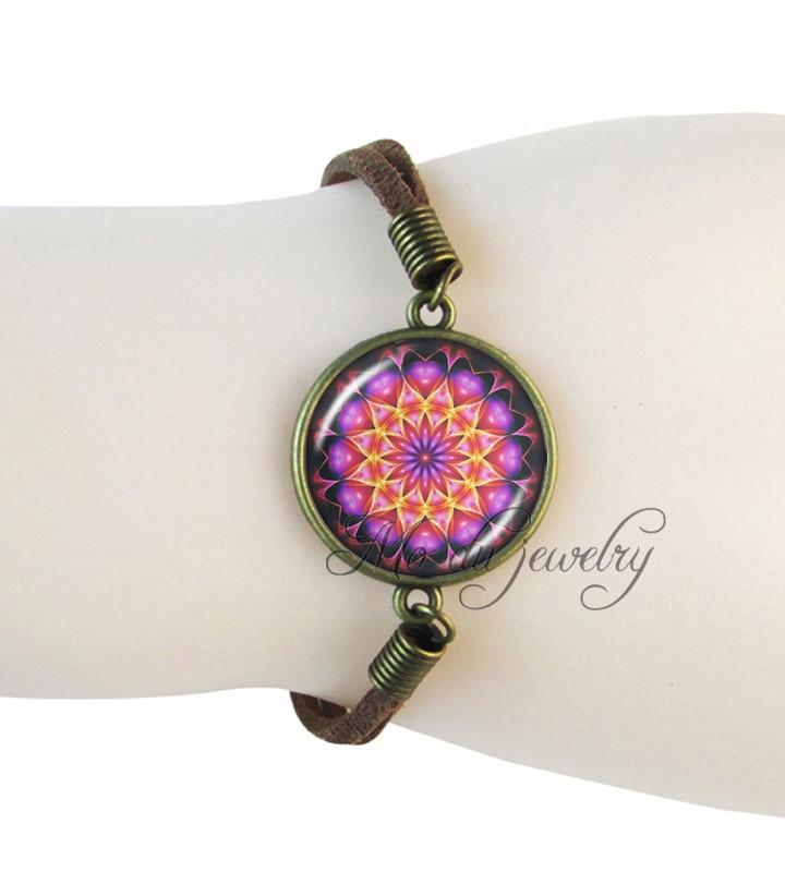 Women bracelet lotus flower charm bracelet vintage jewelry art picture wrap bracelet indian om yoga henna zen religion jewelry