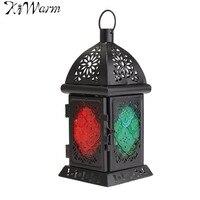 Moroccan Sryle Vintage Glass Metal Garden Candle Holder Table Hanging Lantern For Home Room Wedding Shop