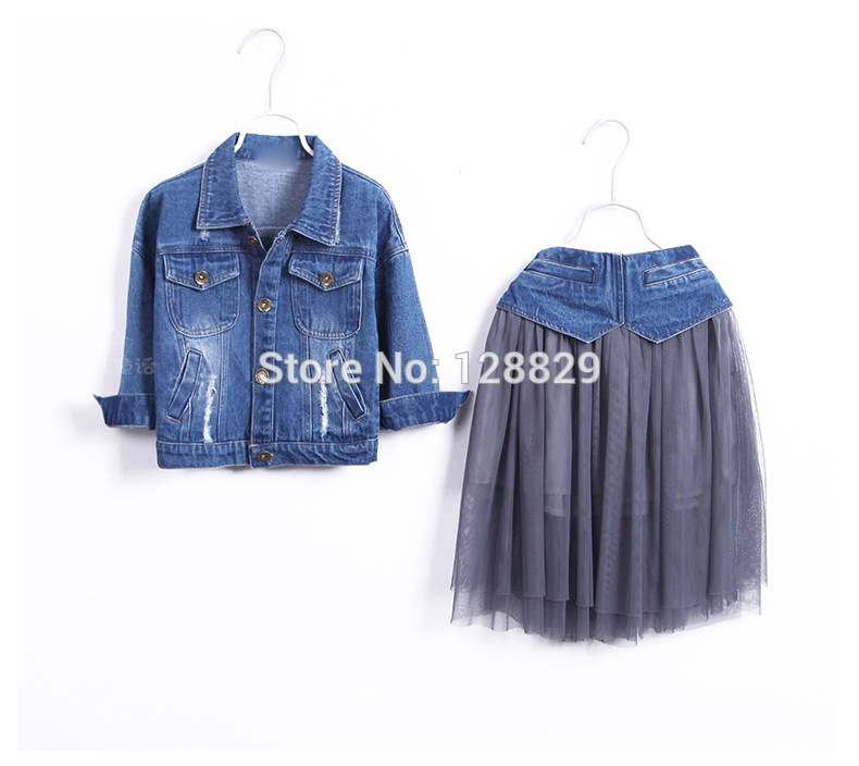 56bc94f6fd225 Niños Conjuntos de ropa primavera algodón Niñas Conjuntos de ropa moda de  alta calidad Denim coat   Faldas 2 unids niños ropa para Niñas en Sistemas  de la ...