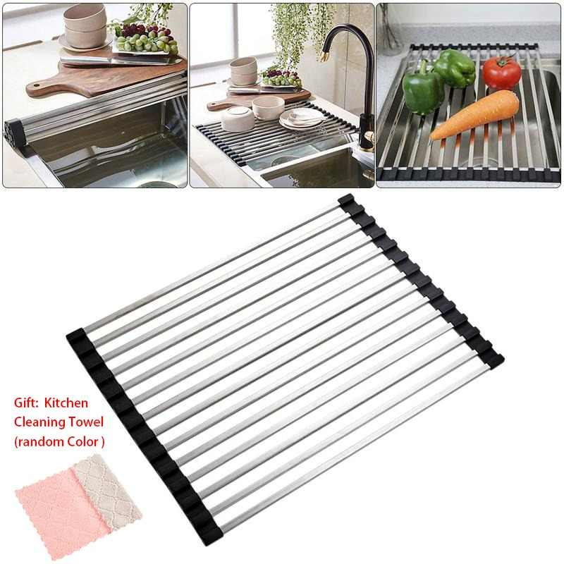Kitchen Tube Folding Draining Rack Stainless Steel Non-Slip Dish Tableware Drying Racks Sink Storage Rack Kitchen Organizers