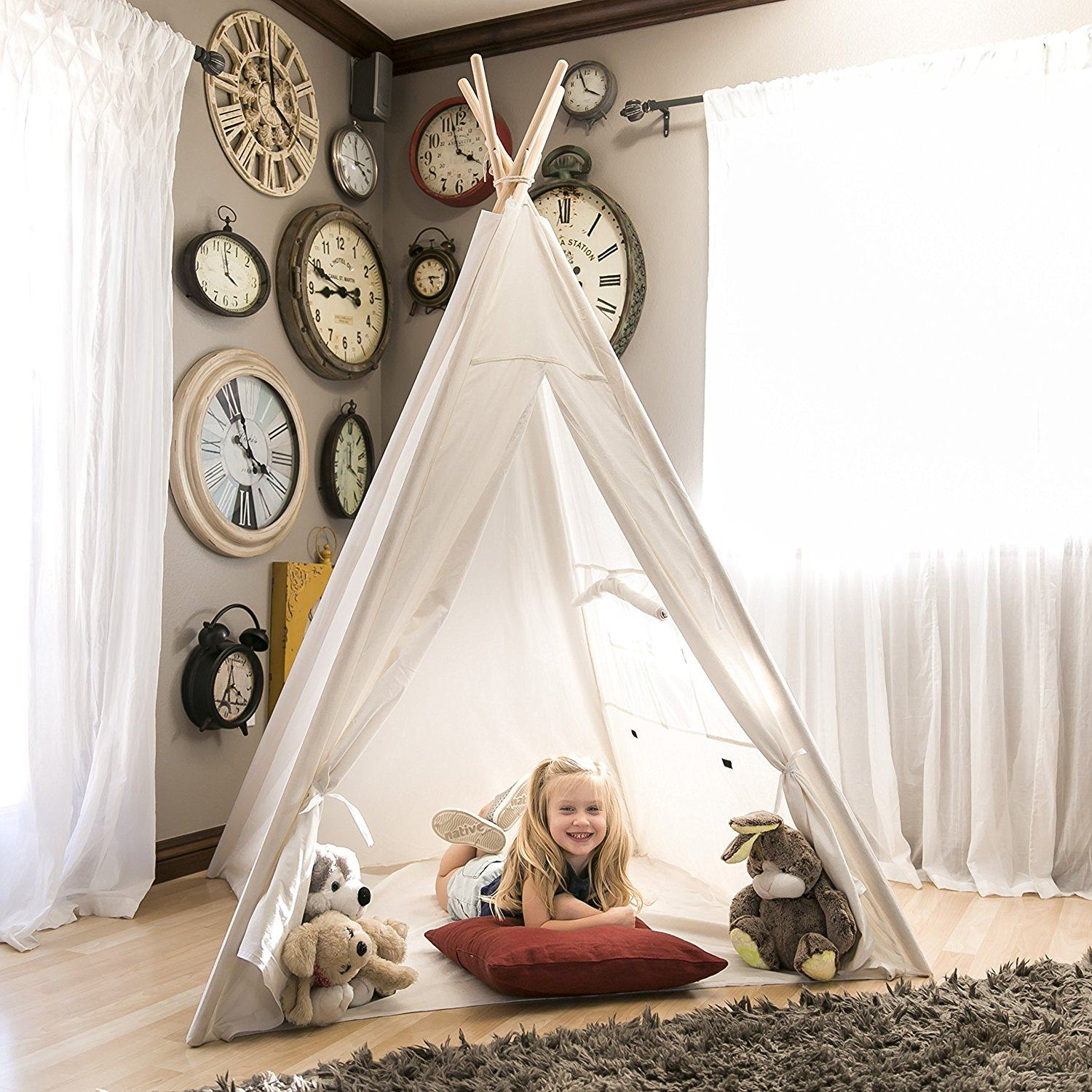 Play-Tent Game-House Tipi Triangle KidsTent Teepee Canvas Sleeping Dome 130cm Teepee House Wigwam Room Children's Tent