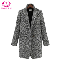 MYCOURSE Fashion Women's Grey Wool Coats Winter Long coat 2016 New Design Hollywood Warm Long Oversize Imitation Cashmere Coats