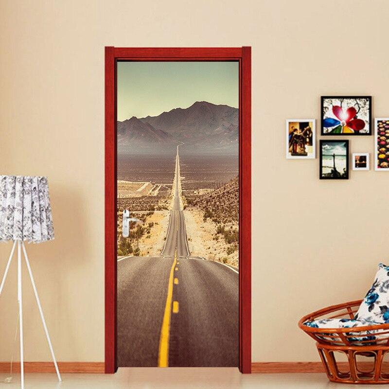 Creative DIY 3D Door Stickers Desert Highway Pattern For
