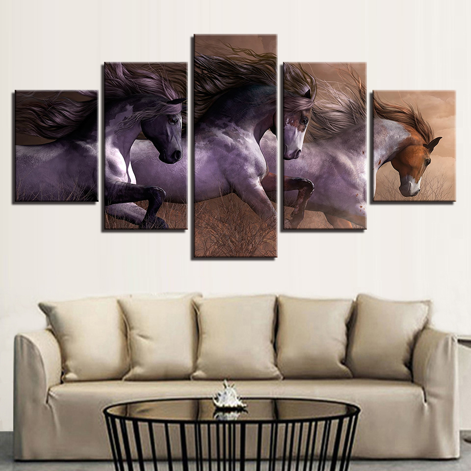 Modern Canvas Paintings Living Room Wall Art Modular HD Prints Pictures 5 Pieces Animal Horses Race Posters Home Decor Artwork