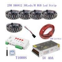 25 м Водонепроницаемый WS2812B Светодиодные ленты WS2812B IC 60 светодио дный s/M RGB Smart Pixel Газа + T8000S светодио дный контроллер + 5 В 60A светодио дный источ