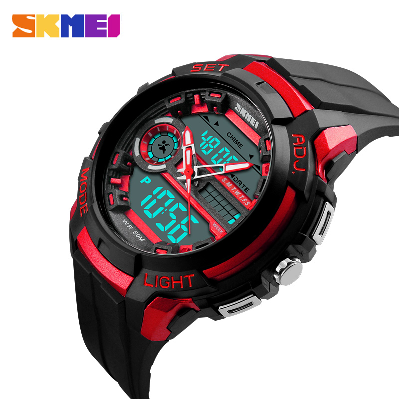 SKMEI Men Sports Watches LED Back Light 50M Water Resistant Shock Military Watch Quartz Digital Dual Display Mens Wristwatches skmei men climbing sports digital wristwatches big dial military watches alarm shock resistant waterproof watch 1025