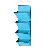 4 nivel puerta de pared colgante organizador almacenamiento rack bag bolsa de tela zapato azul del bolsillo