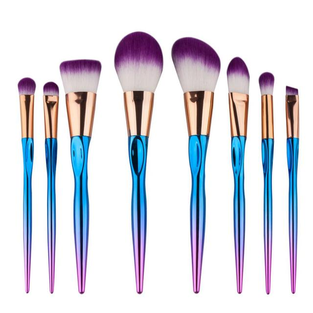 8 unids Maquillaje Pinceles Set Diseño de Ranura mango herramientas de belleza Cosméticos Fundación Colorete Powder Blending Brush kits-MB021