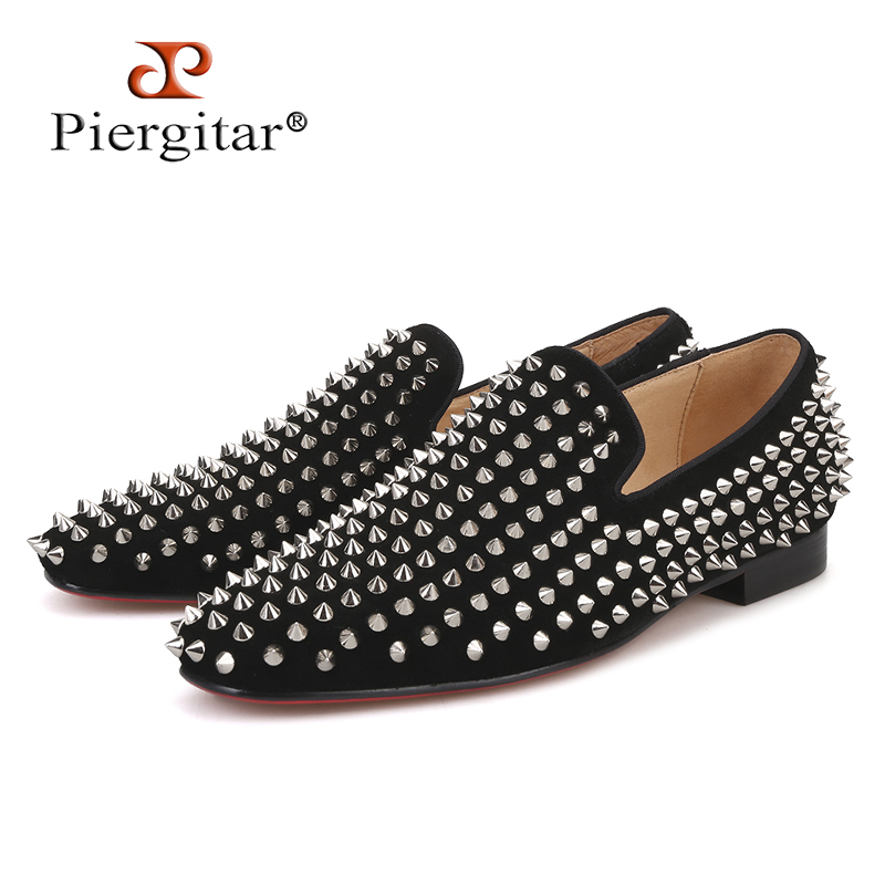 Handmade men black nubuck leather shoes with silver rivet Fashion CL same style men loafers red bottom men