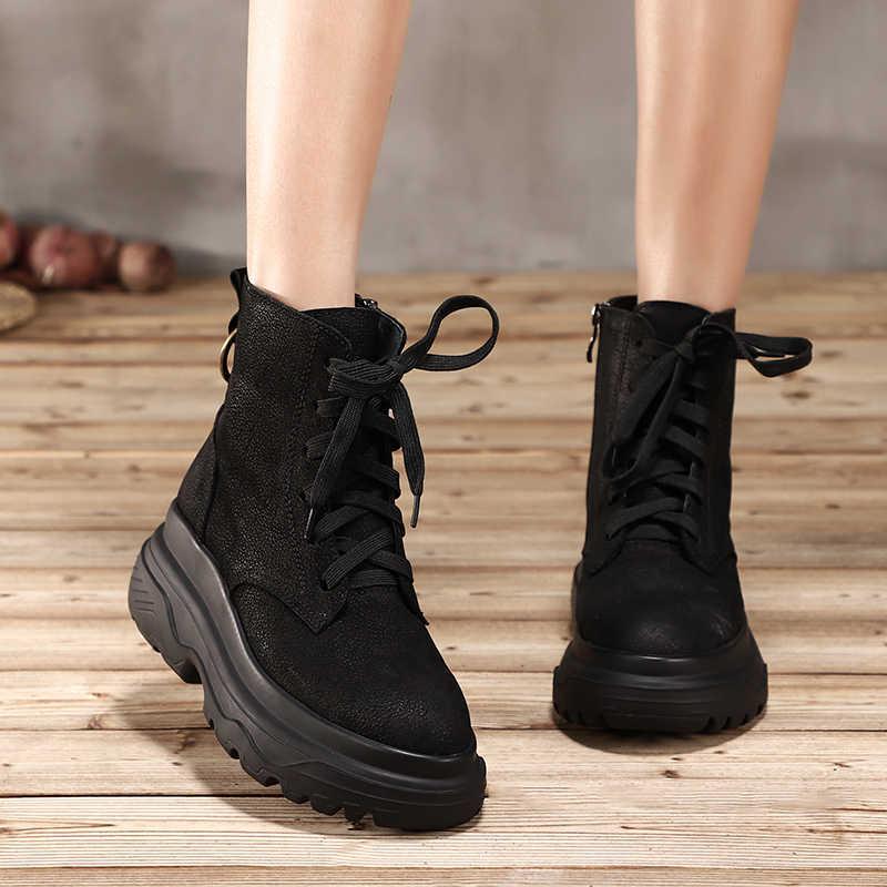 Da Vallu Buộc Dây Giày Người Phụ Nữ 2018 Hàng Mới Về Nữ Nêm Giày Thoải Mái Ban Đầu Nữ Da Mắt Cá Chân Boot
