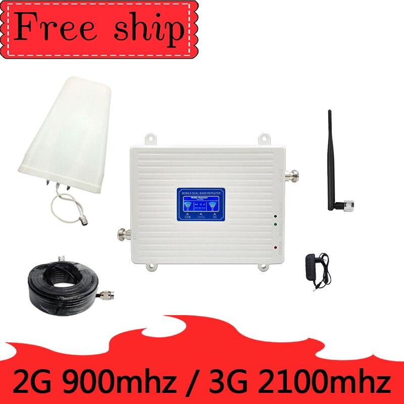 23 DBM 2G 900 MHZ GSM 3g 2100 MHZ répéteur double bande téléphone portable 900 2100 UMTS 70 db gain signal booster amplificateur cellulaire