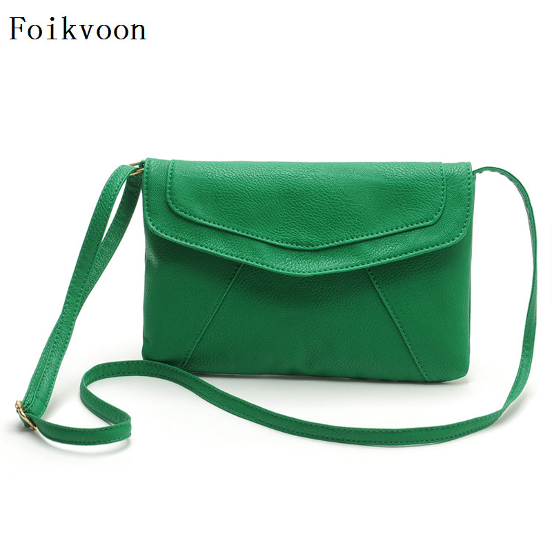 Foikvoon Woman Shoulder Bags Retro PU Leather Handbags For Women Fashion Candy Colors Mini Female Crossbody Bag