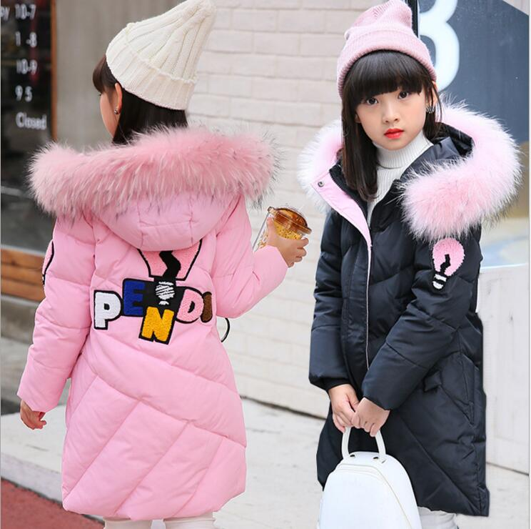 Fashion Winter Warm Children's Down Jacket Girl's Long Style Thick Girls Down Coat Winter Outerwear Wear Size 110-160 russia winter boys girls down jacket boy girl warm thick duck down