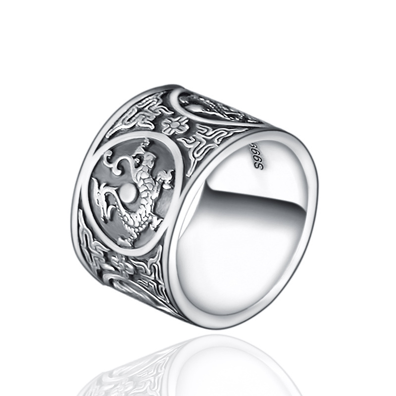 999 Sterling Silver Vintage Men Rings 4 Creatures Dragon Tiger Bird Turtle Chinese Traditional Culture Pure Silver Jewelry 1set 100%new am fm stereo am radio kit diy cf210sp electronic production suite