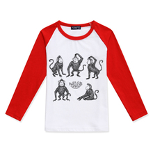 Limited Time Discount Boys Long Sleeve Tops Girls T Shirt Cotton O-Neck Tshirts Monkey Print Fashion Children Clothing Child Tee