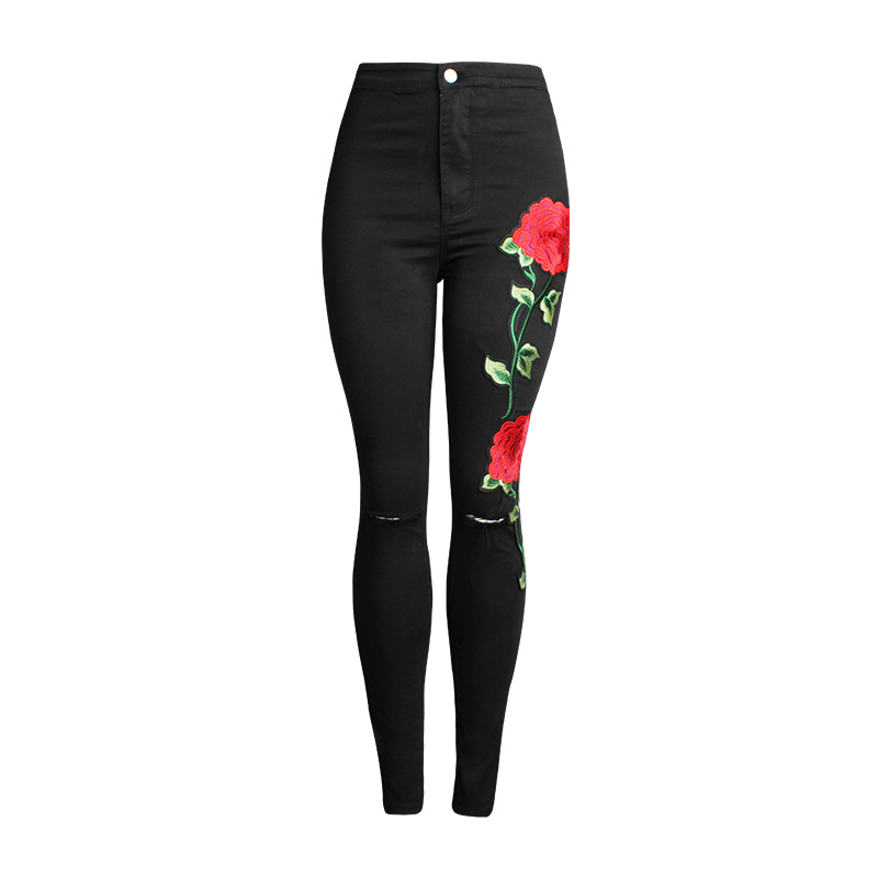 New 2017 Women's Vintage Embroider Flowers Jeans Sexy Ripped Pencil Stretch Denim Pants Female Slim Skinny High Waist Jeans покрывало les gobelins накидка на кресло boston waltz 70х140 см