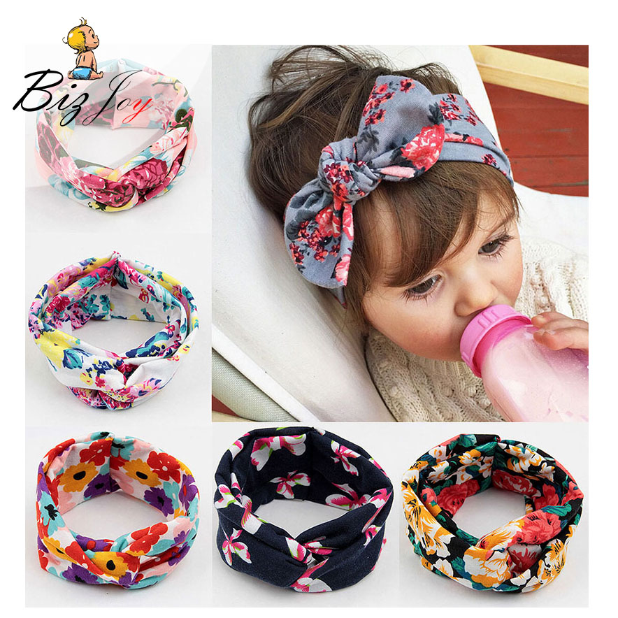 1PC Fashion Kids Girls Baby Printing Cross Headband Toddler Bow Flower Bohemia Style hotograph Hair Accessories Play Mats taza de m&m