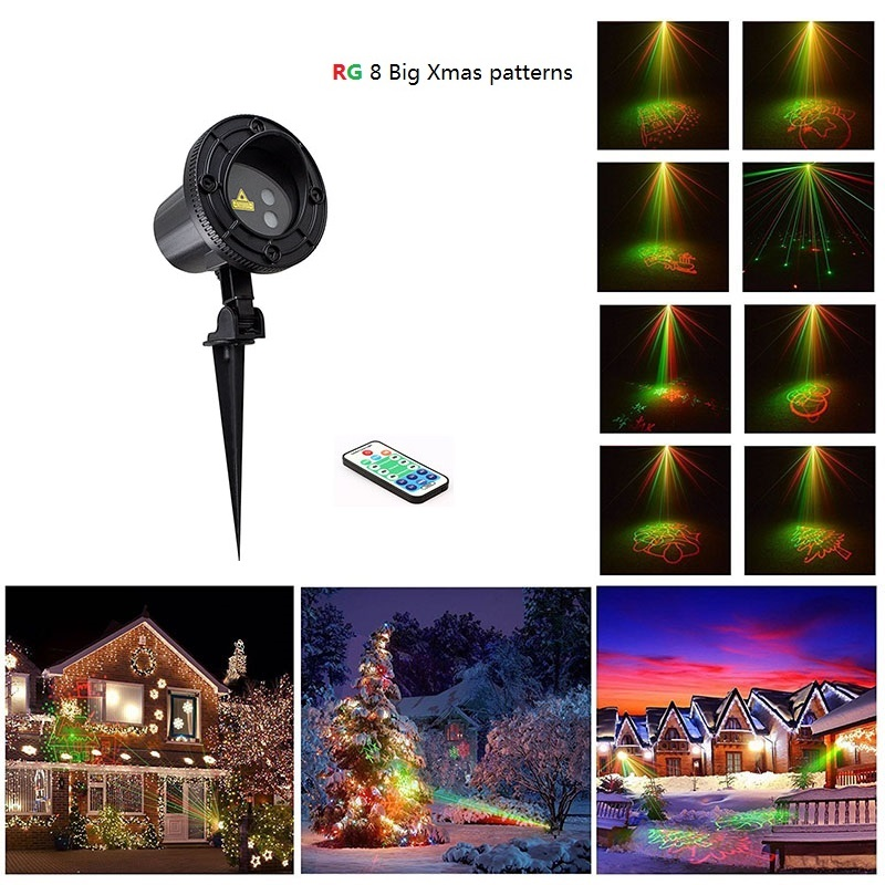 Laser Projector RF Remote RG 8 Xmas Patterns lighting Outdoor Waterproof IP65 Garden Holiday Christmas show Red Green Landscape christmas laser lights outdoor projector motion 12 xmas patterns waterproof ip65 rf remote for garden landscape decoration