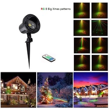 Laser Projector RF Remote RG 8 Xmas Patterns lighting Outdoor Waterproof IP65 Garden Holiday Christmas show Red Green Landscape