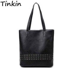 Tinkin PU Leather Female Handbag  Autumn Bag Large Size Women Shoulder Bag Daily Vintage Women Bag Causal Rivet Bag