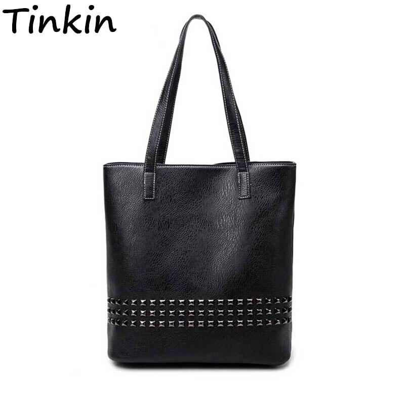 Tinkin PU Leder Weibliche Handtasche Herbst Tasche Große Größe Frauen Schulter Tasche Täglichen Vintage Frauen Tasche Kausalen Niet Tasche