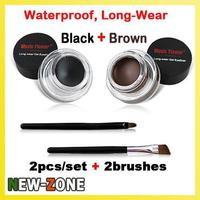 Hot Sale 2pcs Set Brown Black Gel Eyeliner Waterproof Long Wear Eyes Makeup Eyeliner Gel Set