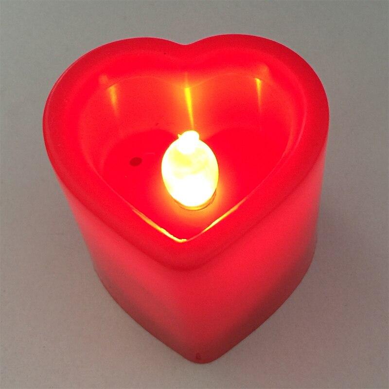 2 цвета свет площадь Сердце Свеча лампа домой аварийного фонарик Фонари включены 3 кнопки Батареи