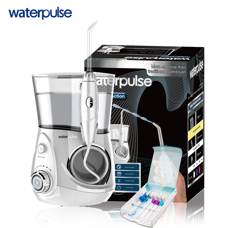 Dental Care Waterpulse Rechargeable Water Pick Teeth Cleaning Oral Irrigator V660 Dental Water Jet Flosser With 5pcs Jet Tips yasi v8 rechargeable electric oral irrigator water toothpick teeth whitening water flosser dental tooth cleaning tool eu plug