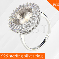 Retro design dainty adjustable 925 sterling silver ring accessories with bar for stick pearls onto for wedding wearing