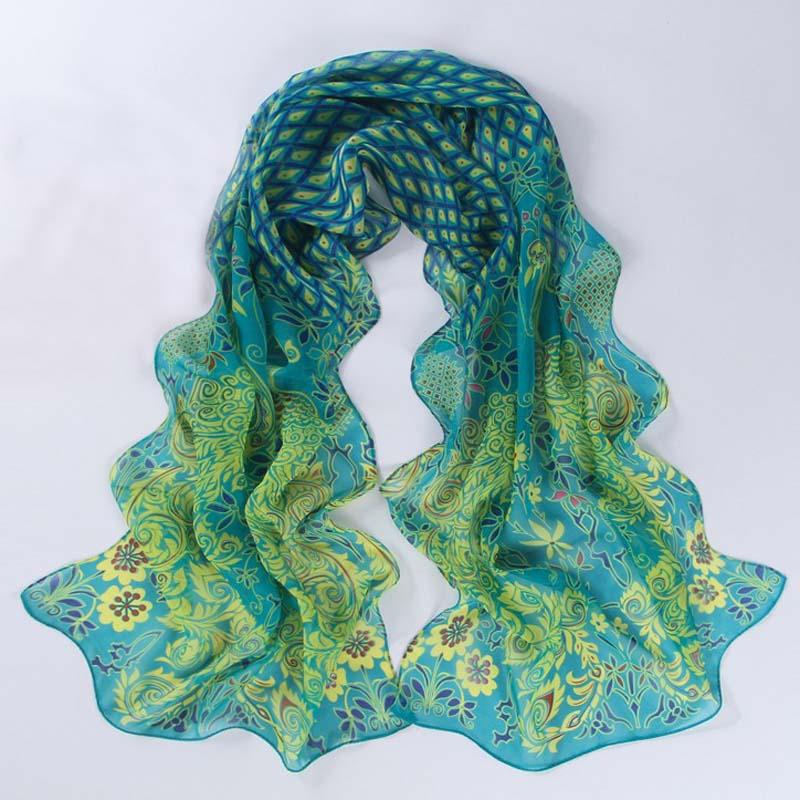 Peacock Printing Scarf Women Girl Shawl Chiffon Scarves Cape Silk Black Flowers Chiffon Fashion