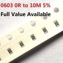 200 шт. 0603 SMD резистор проволочного чипа 10K ohm 5% 0R-10M 1K 2,2 K 10K 100K 0R 1R 10R 100R 220R 330R 470 ohm 2/3/4/5/6/7/8 /9/R/K комплект