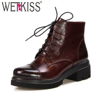 WETKISS Genuine Leather Military Ankle Boots Women Lace Up Round Toe Platform Bootie Thick Heels Footwear Warm New Female Shoes