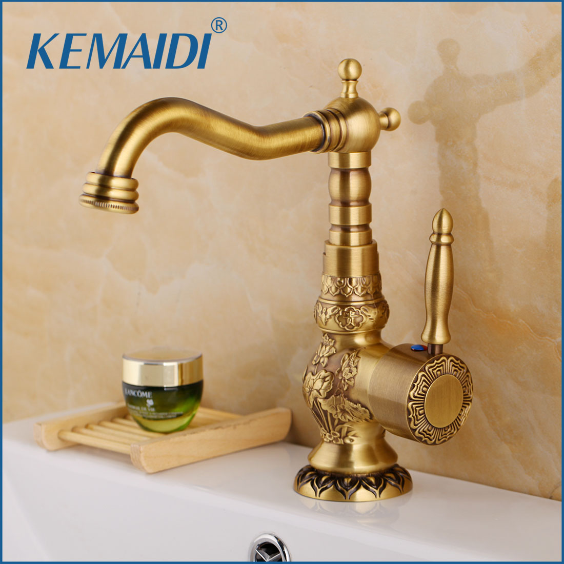 KEMAIDI Antique Brass Deck Mounted Basin Water Faucet With Single Handle One Hot And Cold Water Carved Bathroom Faucet kemaidi 3 pcs antique brass