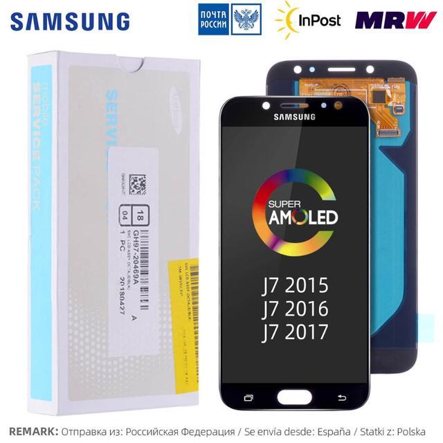 AMOLED Pantalla Para SAMSUNG Galaxy J7 Pro LCD Display Cristal Táctil digitalizador Asamblea Completa Para Samsung Galaxy j7 2017 LCD J730 J730F J7 2016 J700 J700F J710 J710F