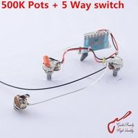 High Quality Electric Guitar Wiring Harness 2x 500K Pots 5 Way Switch Jack