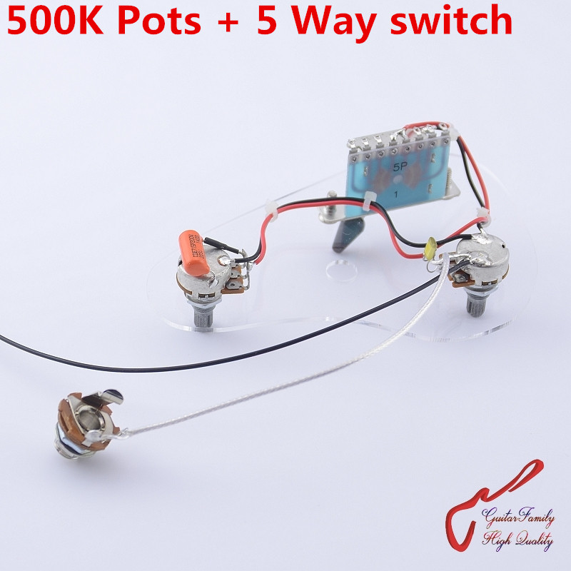 US $10.0 |1 Set GuitarFamily Electric Guitar Wiring Harness ( 2x 500K on potentiometer wiring, guitar tone pot wiring, 3-way wiring, basic electrical wiring, jeff beck guitar wiring, 4-wire humbucker wiring,