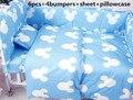 ¡ Promoción! 6 UNIDS Mickey sistemas del lecho del pesebre Del Bebé fijó el algodón 100% (bumpers + hoja + funda de almohada)