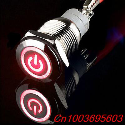 YOCOMYLY (TM) 5pcs 16mm 12V Red power/angel eye Circle LED Metal Momentary Push Button Switch  new 12v metal angel eye led car illuminated 16mm push button switch in stock free shipping