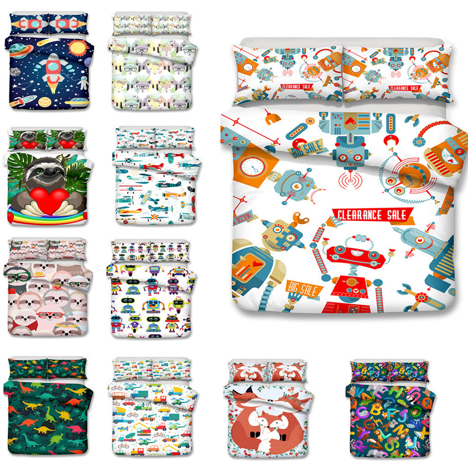 Children Bed Linen With Cartoon Fox 3D Kids Bedding Set Robot Comforter Bed Set White  With Animal Car Printed For Boy Double